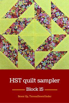 Block 15: 16 HST quilt sampler free tutorial