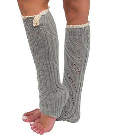 Look what I found on #zulily! Light Gray Cable-Knit Lace Button-Accent Leg Warmers #zulilyfinds