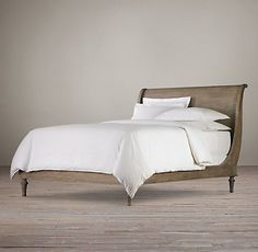 Empire Rosette Bedroom Collection Antiqued Grey | Restoration Hardware. remove footboard from bed. Dirty wax existing finish and see what happens
