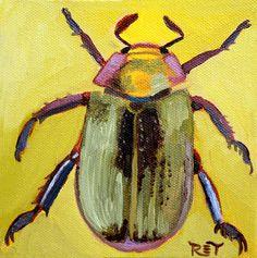 Insect art Beetle painting Beetle art by ReneeThompsonDesigns, $25.00  Etsy.com