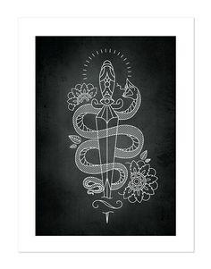 Snake & Dagger – Tattoobular Line Design Series, Neo-Traditional Tattoo Flash, Old School, Art Print 12x16
