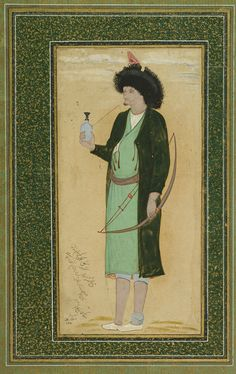 Nashmi the Archer, 1670s. Mu'in Musavvir (Iranian). Safavid period. Opaque watercolor and gold on paper. H: 30.7 W: 20.6 cm.Isfahan, Iran. Bequest of Adrienne Minassian S1998.15 © 2012 Smithsonian Institution