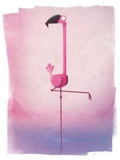 Flamingo illustration by Simon Tibbs, Motion Graphic Designer Flamingo Art, Pink Flamingos, Character Illustration, Graphic Illustration, Charley Harper, Art Plastique, Bird Art, Storyboard, Design Art