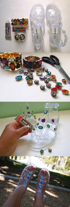 DIY: D&G Jeweled Jelly Sandals - 12 Fashionable DIY Ideas I'd want the whole shoe covered in gems. Shoe Crafts, Diy And Crafts, Diy Accessoires, Diy Kleidung, Do It Yourself Fashion, Pretty Designs, Fashion Project, Diy Clothing, Diy Projects To Try