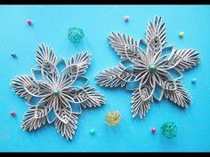 DIY I snowflake from kitchen rolls I Schneeflocke aus Küchenrollen Christmas Kitchen, Snowflakes, Rolls, Christmas Decorations, Paper Crafts, Diy, Youtube, Toilet Paper, Art