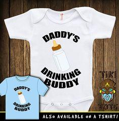 Funny Daddy's Drinking Buddy Bodysuit Toddler by TikiTotsShop