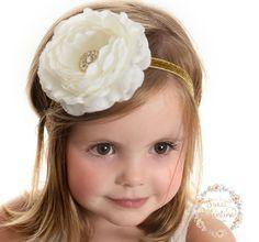 Ivory baby headband Christmas Headbands Baptism headband