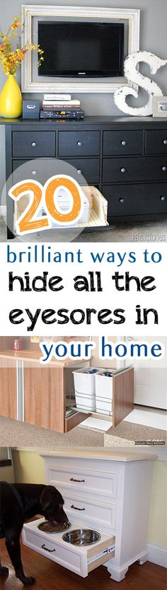 Hide those embarrassing but necessary home objects with these genius ideas. Diy Home Decor Projects, Diy Home Improvement, Cleaning Tips, Diy Cleaning Products, Home Organization Hacks, Organizing Your Home, Organisation Ideas, Household Organization, Organizing Tips