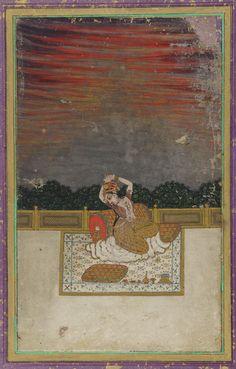 A musical mode (varari ragini)- early century MEDIUM Color and gold on paper Mughal Miniature Paintings, Mughal Paintings, Islamic Paintings, Indian Paintings, Freer Gallery, Indian Artwork, Art Web, Hindu Art, Asia