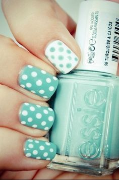 aqua polka dots Probably on my toesies lol