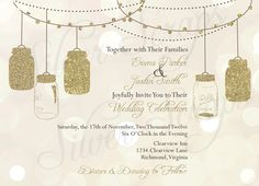 Gold Glitter Lights and Vintage Hanging Mason Jars - Custom Wedding, Rehearsal, Shower, Engagement Party Invitation - Pink Black - 5 Designs