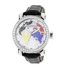 This Luxurman mens diamond watch features 4.50 carats of VS quality white sparkling diamonds, polished silver stainless steel case with a soft genuine black leather band and a continents dial paved in multicolor stones dial with a date display. Water-resistant to 30 m (110 ft).