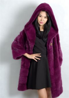 >> Click to Buy << genuine mink fur coat with big hood ,mink fur coat of 90cm length,purple,medium natural mink coat china #Affiliate
