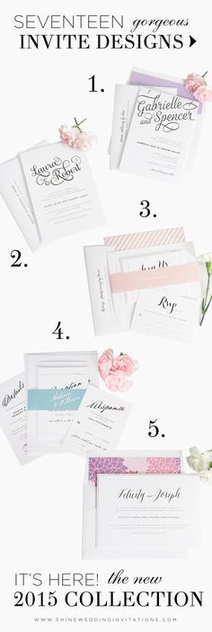 The NEW 2015 collection by Shine Wedding Invitations! 17 gorgeous invitation designs that will knock your socks off! Seriously! Look and see! http://www.shineweddinginvitations.com/2015-wedding-invitations