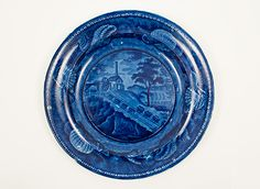 "Historical Staffordshire American Scene B & O Railroad Incline 9"" Dark Blue Plate"