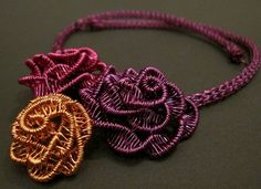Roses and Viking knit, wire worked necklace