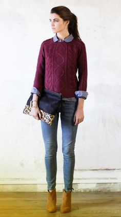Chambray, burgundy sweater, skinny jeans, ankle boots, leopard bag. Check, check, and check. Pretty sure I could do this with pieces I own already.