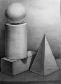 Still life drawing Shading Drawing, Form Drawing, Object Drawing, Basic Drawing, Drawing Ideas, Value Drawing, Geometric Shapes Art, Geometric Drawing, Pencil Art Drawings