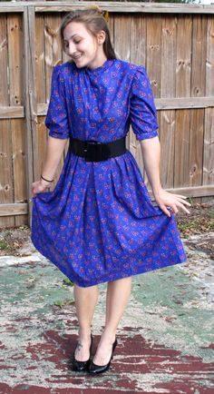 Vintage Royal Blue Short Sleeve Secretary Dress