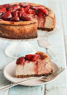 Roasted Strawberry & Ginger Ricotta Cheesecake - id use rhubarb in place of strawberries