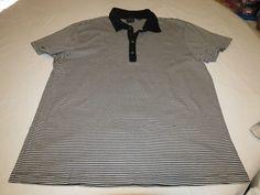 Mens AX Armani Exchange striped XL short sleeve snaps polo shirt casual EUC@ #AXArmaniExchange #PoloRugby