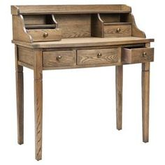 """Elm wood desk with 5 drawers and 3 cubbies.   Product:  Desk    Construction Material: Elm wood    Color:  Medium oak   Features: Five drawers    Three cubbies  Dimensions: 40.6"""" H x 36.2"""" W x 19.1"""" D"""