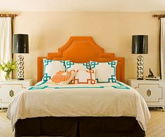 Statement-making furniture and just-right doses of color lift this bedroom from the beige doldrums.