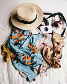 TRAVEL ESSENTIALS! Before you head out on your next trip, be sure to grab your favorite sun hat, a camera, some chic sandals and of course an Albion Swimsuit {Clementine Scuba Crop + Clementine High Waisted Swim Bottoms pictured} -- Check the rest out at albionfit.com | @albionfit #marykaterob