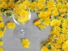 Dandelion Wine. Will look nice if you fill part of vase with stones and res with flowers