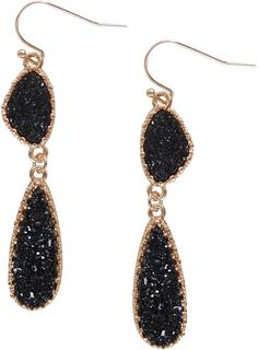 Shop Humble Chic Simulated Druzy Drop Dangles Long Double Teardrop Dangly Earrings Black and Search Thousands of Unique Drop & Dangle Earrings Discount Sale Up to off. Double Earrings, Black Diamond Earrings, Dangly Earrings, Amethyst Earrings, Sterling Silver Earrings Studs, Diamond Studs, Teardrop Earrings, Crystal Earrings, Statement Earrings