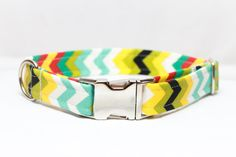 Chevron Dog Collar - Summer turquoise & yellow pattern on Etsy, $25.00