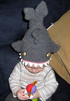 Free Crochet Shark Hat Pattern. This is pure insanity!
