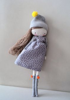 Laia rag doll  cloth art rag doll polka dots by lassandaliasdeana, $44.00