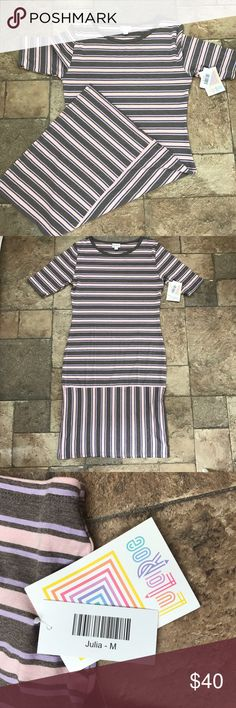 LuLaRoe Striped Julia Dress NWT Size Medium M Selling a gorgeous LuLaRoe Julia that is gray, pink and lavender striped. Size medium. Nice and stretchy. Comfortable but curve hugging dresses are not my thing. Nice lightweight material for summer and spring. Really soft and gorgeous.  NWT from pet and smoke free home. LuLaRoe Dresses