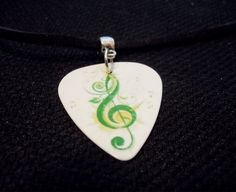 Treble Clef Guitar Pick and Black Suede Cord by ItsYourPick on Etsy