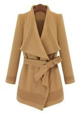 Camel Long Sleeve Drawstring Waist Asymmetrical Coat 0.00