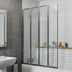 A folding bath screen is very convenient for those who lack the space in their bathroom but still, want the protection from excess splashes and sprays from the shower. Bath Shower Screens, Shower Over Bath, Have A Shower, Glass Shower Doors, Freestanding Bath With Shower, British Bathroom, Bathroom Shop, Bathroom Ideas, Family Bathroom