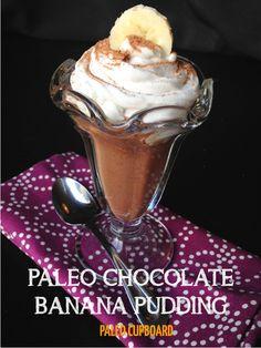 Paleo Chocolate Banana Pudding -- canned coconut milk, banana, vanilla, honey, cocoa. Chocolate Banana Pudding, Banana Pudding Recipes, Paleo Chocolate, Banana Mousse, Paleo Dessert, Healthy Sweets, Whole 30, Paleo Recipes, Whole Food Recipes