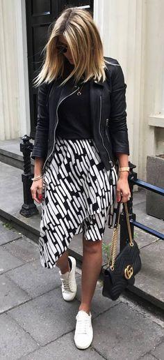 black and white outfit / biker jakcet + top + printed skirt + sneakers + bag