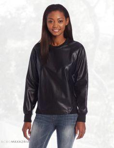 BCBGMAXAZRIA Women's Luca Pleather Sweatshirt