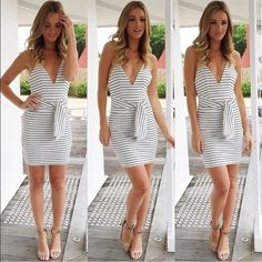 """Blank Minds White & Black Striped Mini Dress photo cred: muraboutique.com.au  This stunning stripe dress is all things summer chic! Pair with red lips and nude heels for the ultimate fresh summer look!   FIT: Australian sizing so fits more like XS Bodycon fit  Stretchy material  Cotton/Polyester blend  CARE INSTRUCTIONS: Cold gentle hand wash Do not tumble dry Cool iron Dry clean recommended   MODEL MEASUREMENTS: Model wears size 8/S Height - 5'9"""" Bust - 31"""" Waist - 26"""" Hips - 36"""" MURA…"""