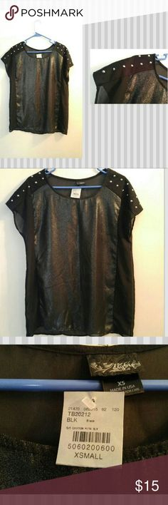 NWT Daytrip Black Semi-Sheer Studded Top Sz XS NWT black semi-sheer top by Daytrip.  Studded on shoulders to give an edgy look.  MSRP: $29.95 Daytrip Tops Blouses