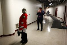 Patrick Sharp snaps a photo of his mom wearing a Patrick Kane jersey in the basement of the United Center. #WrongPatrickMom.