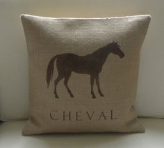 Burlap French Horse Cheval pillow cover