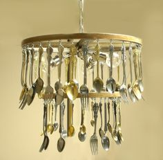 Crafts made with silver ware | Silverware chandelier | Vintage Silver Decor and Crafts