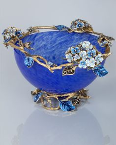 Sophie Hydrangea Glass Bowl by Jay Strongwater at Neiman Marcus.