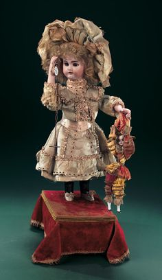 "French Musical Automaton ""Little Girl Playing with Polichinelle"" by Leopold Lambert"