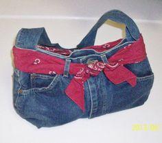 Retro Denim Blue Jeans Purse Handbag With Red by TheVintageDresser, $16.00