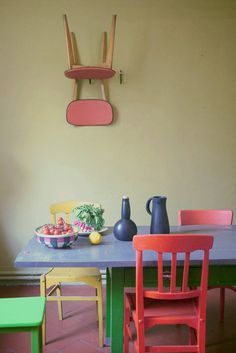 Brightly colored furniture