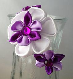 Kanzashi Girls White/ Purple Headband